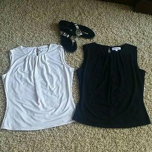 Calvin Klein sleeveless top. Size 2. Lot of 2.